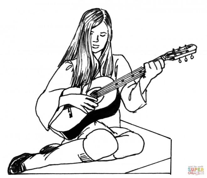 Coloriage et dessins gratuits Guitariste avec sa guitare facile à imprimer