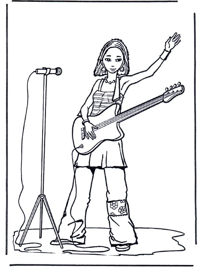 Coloriage et dessins gratuits Guitariste chanteuse à imprimer