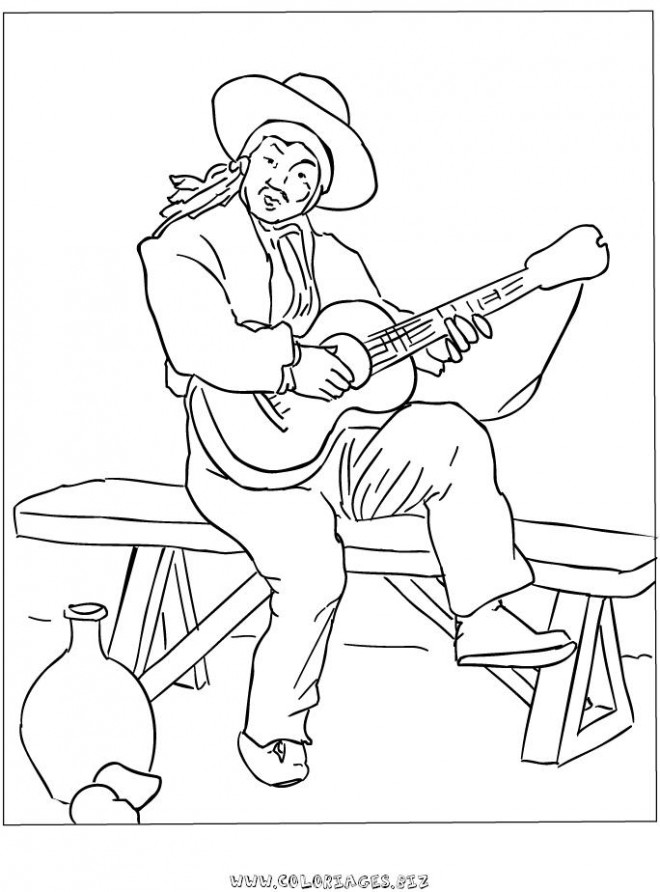Coloriage et dessins gratuits Guitariste classique à imprimer