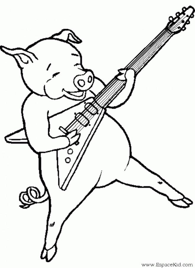 Coloriage et dessins gratuits Guitariste cochon à imprimer
