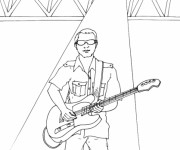 Coloriage et dessins gratuit Guitariste en plein spectacle à imprimer