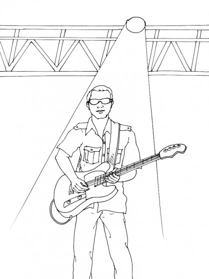 Coloriage et dessins gratuits Guitariste en plein spectacle à imprimer