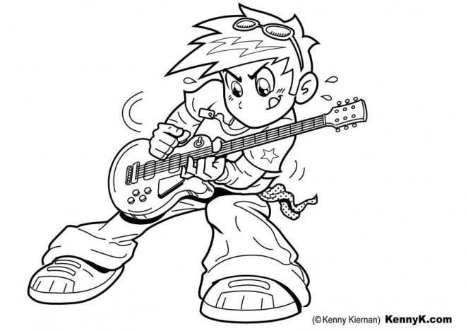 Coloriage et dessins gratuits Guitariste enfant jouant de la guitare à imprimer