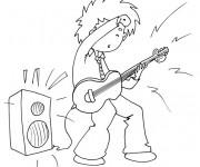 Coloriage et dessins gratuit Guitariste et guitare électrique dessin à imprimer