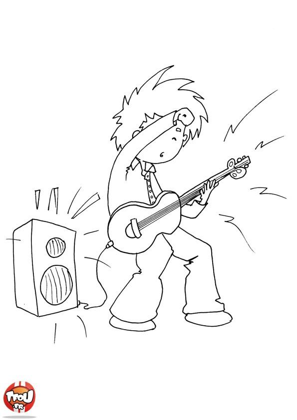 Coloriage et dessins gratuits Guitariste et guitare électrique dessin à imprimer