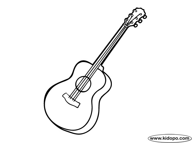 Coloriage et dessins gratuits Guitariste Guitare simple à imprimer