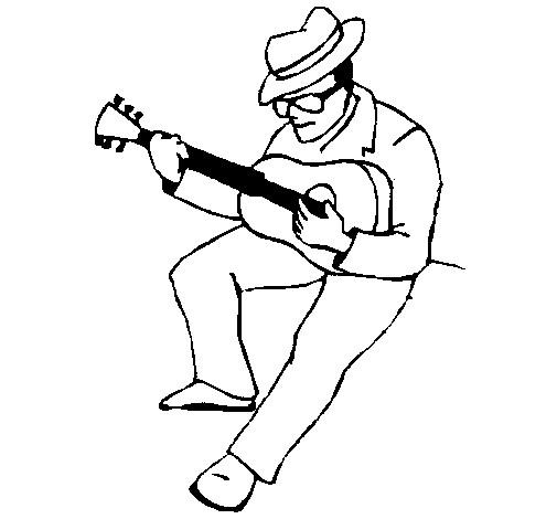 Coloriage et dessins gratuits Guitariste joue de la guitare à imprimer