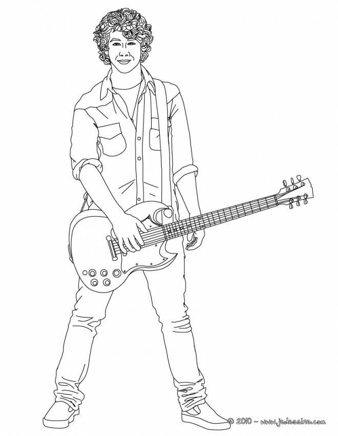 Coloriage et dessins gratuits Guitariste joue de la guitare électrique à imprimer