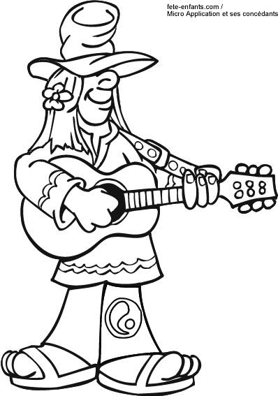 Coloriage et dessins gratuits Guitariste joue de sa guitare simple à imprimer