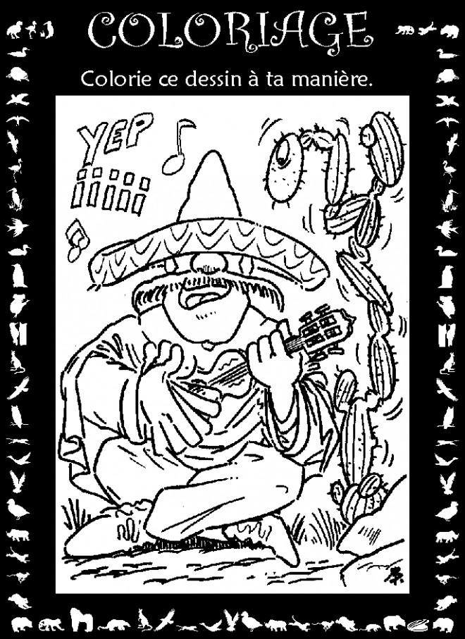 Coloriage et dessins gratuits Guitariste mexicain à imprimer