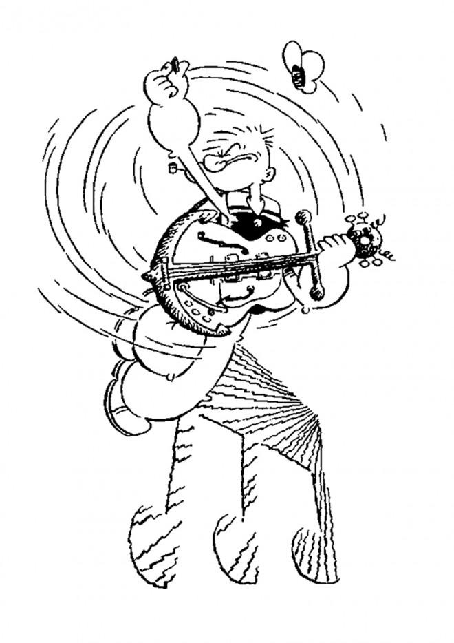 Coloriage et dessins gratuits Guitariste Popeye à imprimer