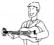 Coloriage et dessins gratuit Guitariste porte sa guitare à imprimer