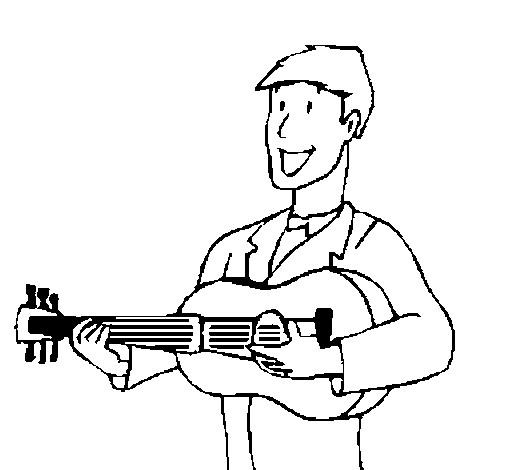 Coloriage et dessins gratuits Guitariste porte sa guitare à imprimer