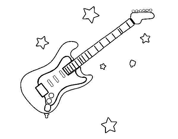 Coloriage et dessins gratuits Guitariste rock instrument de musique à imprimer