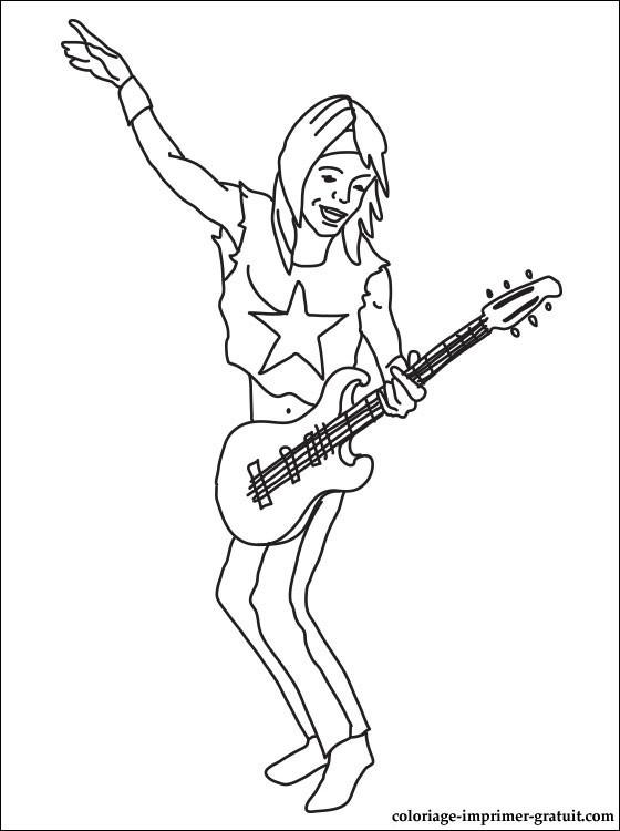 Coloriage et dessins gratuits Guitariste rock star à imprimer