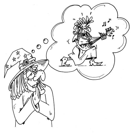 Coloriage et dessins gratuits Guitariste sorcière à imprimer