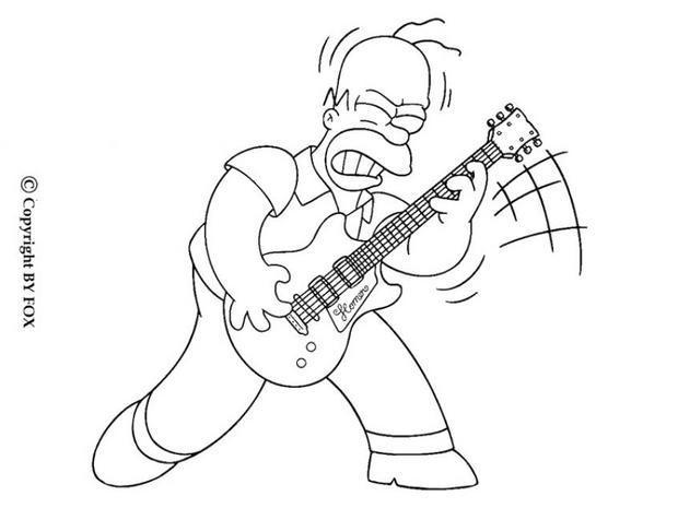 Coloriage et dessins gratuits Homer  joue de la guitare à imprimer