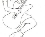 Coloriage et dessins gratuit image Guitariste à imprimer