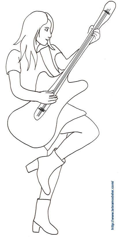 Coloriage et dessins gratuits image Guitariste à imprimer