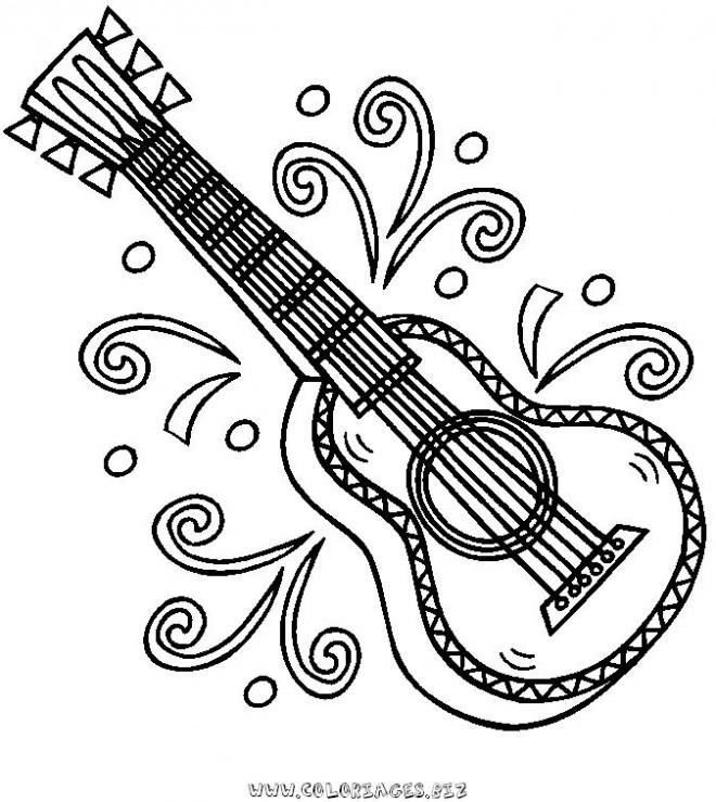 Coloriage magnifique dessin guitare en couleur dessin gratuit imprimer - Coloriage magnifique ...