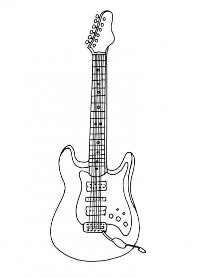 Coloriage et dessins gratuits Photo Guitare gratuite à imprimer