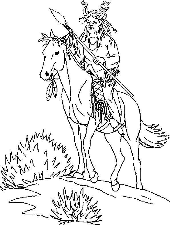 Coloriage et dessins gratuits Chef Indien sur son cheval à imprimer