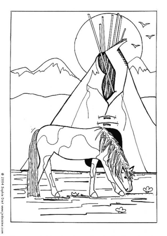 Coloriage et dessins gratuits Cheval devant la tente des indiens à imprimer