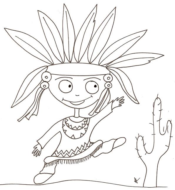 Coloriage et dessins gratuits Dessin enfant Indien en dansant à imprimer