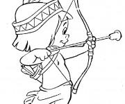 Coloriage et dessins gratuit Enfant indien et son arc à imprimer