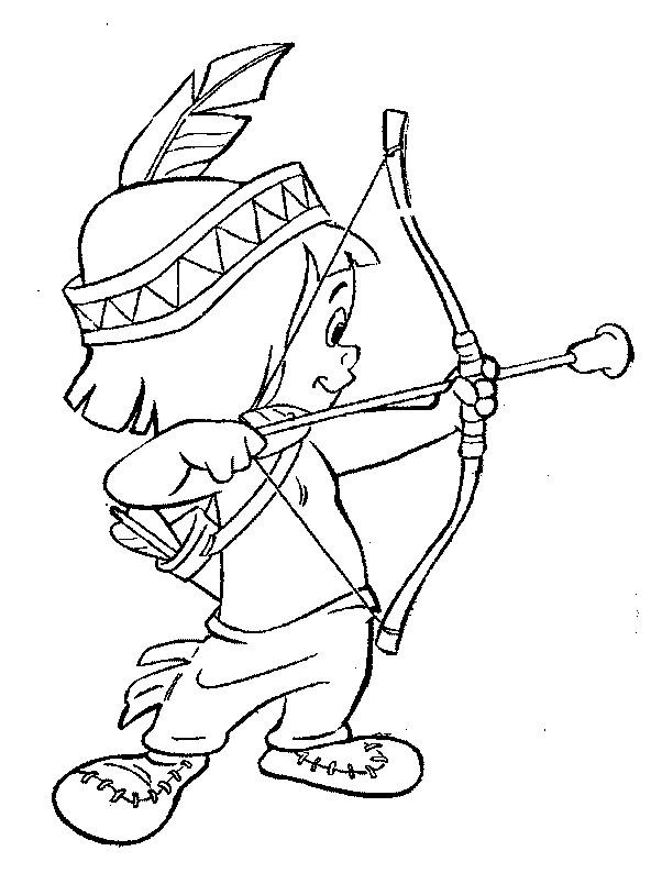 Coloriage enfant indien et son arc dessin gratuit imprimer - Indien coloriage ...
