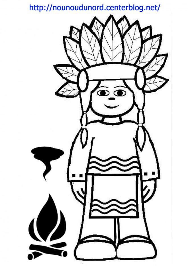 Coloriage et dessins gratuits Fille Indienne à imprimer