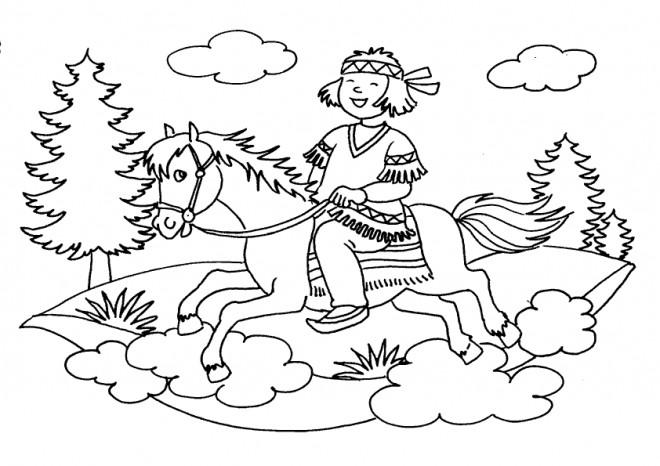 Coloriage et dessins gratuits Fille indienne dans la nature à imprimer