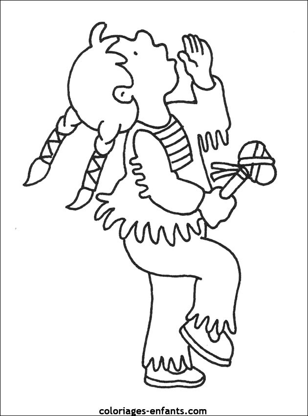 Coloriage et dessins gratuits Fille Indienne danse à imprimer
