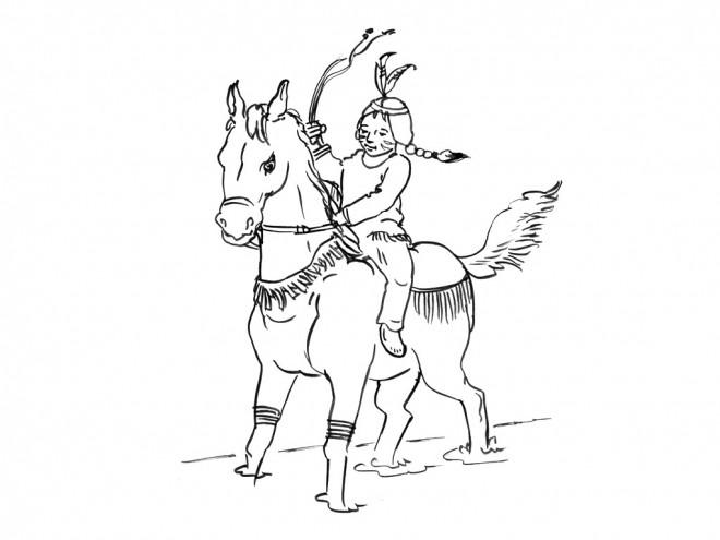Coloriage fille indienne sur le cheval dessin gratuit imprimer - Coloriage petit indien imprimer ...