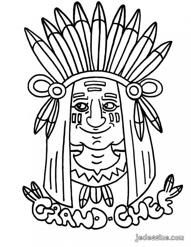 Coloriage et dessins gratuits Grand chef Indien à imprimer
