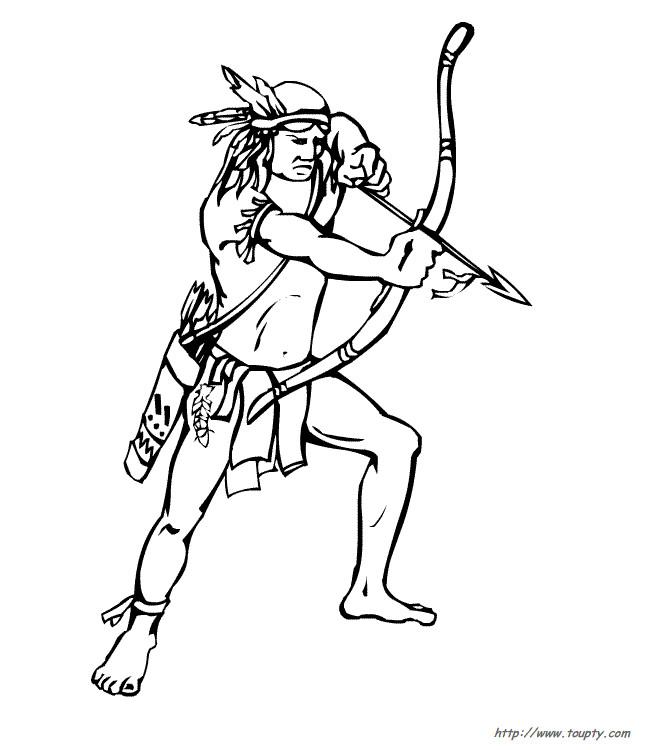 Coloriage et dessins gratuits Indien chasse en couleur à imprimer