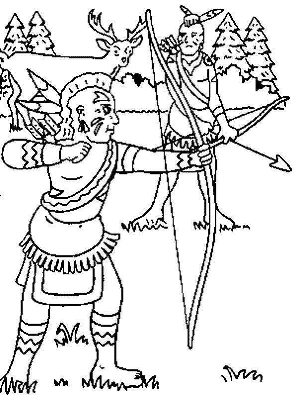 Coloriage et dessins gratuits Indien chasseur à imprimer