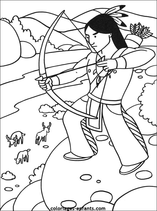 Coloriage indien en chasse dessin gratuit imprimer - Indien coloriage ...