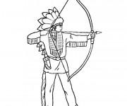 Coloriage et dessins gratuit Indien et arc à imprimer