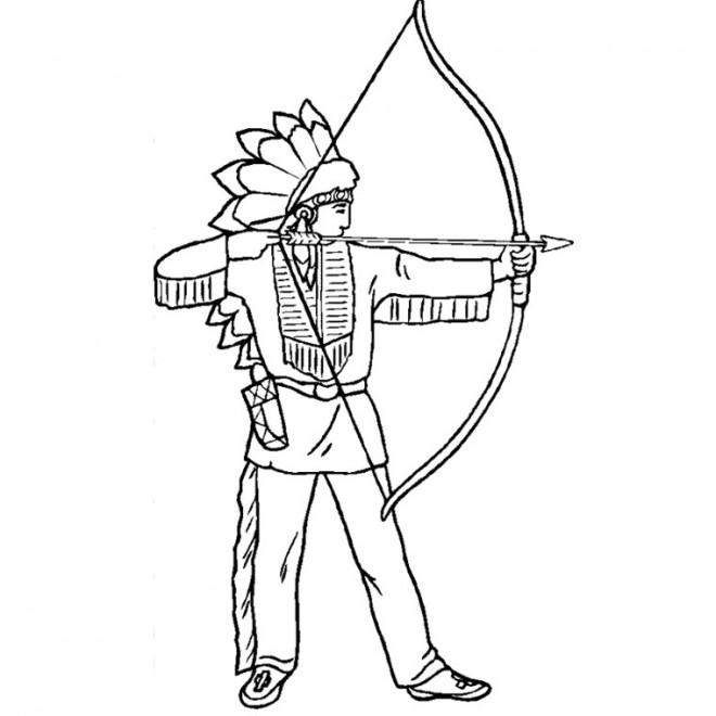 Coloriage et dessins gratuits Indien et arc à imprimer