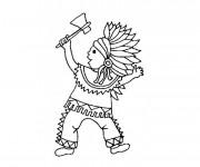 Coloriage et dessins gratuit Indien et hache à imprimer