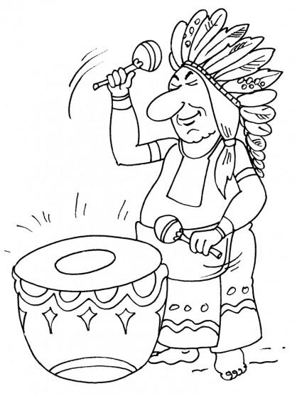 Coloriage et dessins gratuits Indien et tambour à imprimer
