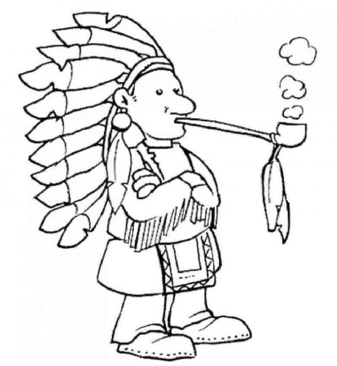 Coloriage et dessins gratuits Indien fume a pipe à imprimer
