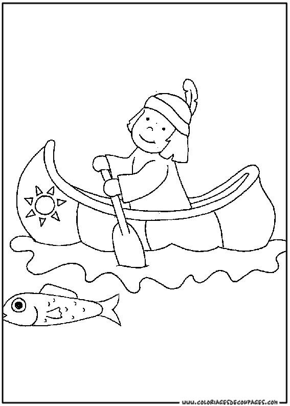 Coloriage et dessins gratuits Indien pêche à imprimer