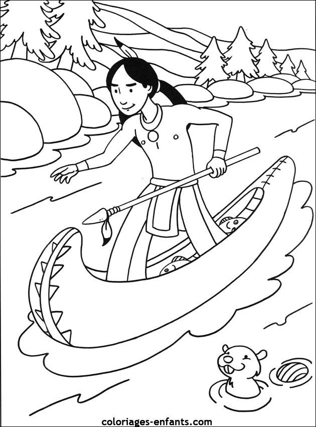 Coloriage indien sur la rivi re dessin gratuit imprimer - Indien coloriage ...