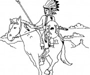 Coloriage et dessins gratuit Indien sur son cheval à imprimer