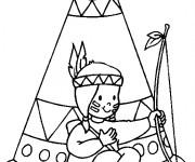 Coloriage et dessins gratuit Indienne devant sa tente à imprimer