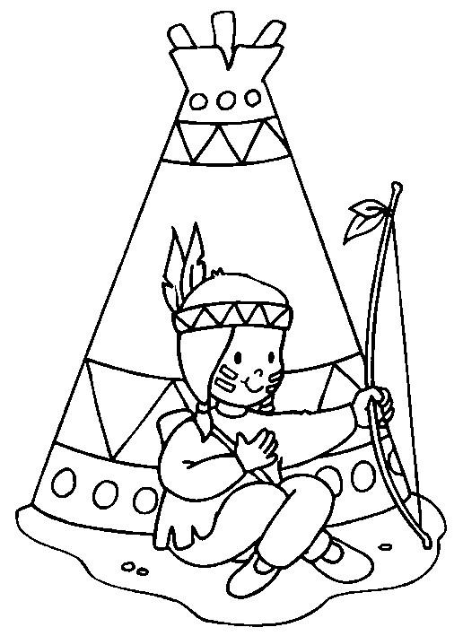Coloriage et dessins gratuits Indienne devant sa tente à imprimer