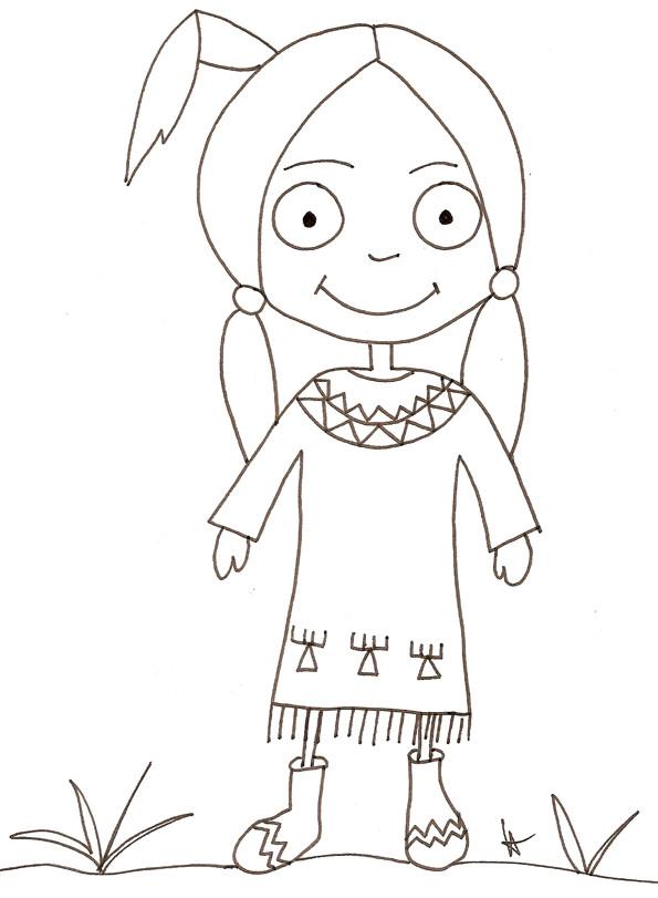 Coloriage et dessins gratuits Indienne souriante à imprimer