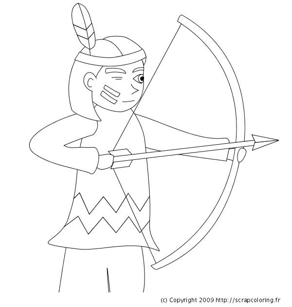 Coloriage et dessins gratuits Indienne vise son arc à imprimer